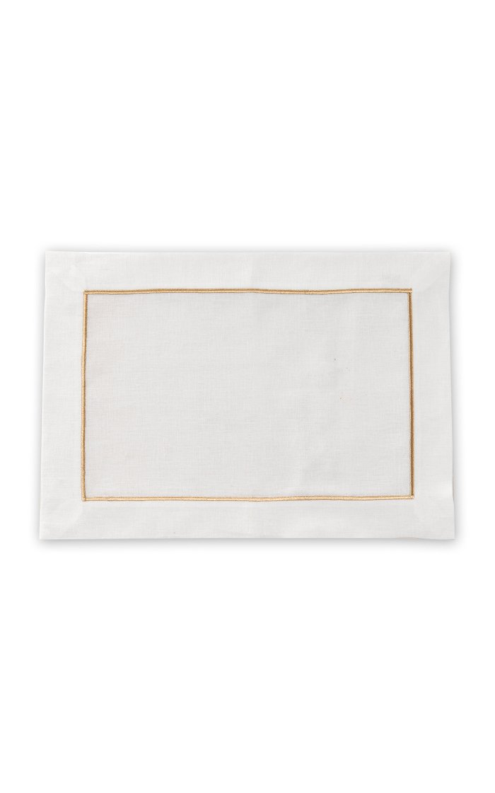 Set Of 4 Gold Placemat And Napkin Set