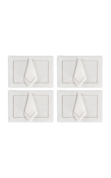 Set Of 4 Silver Placemat And Napkin Set