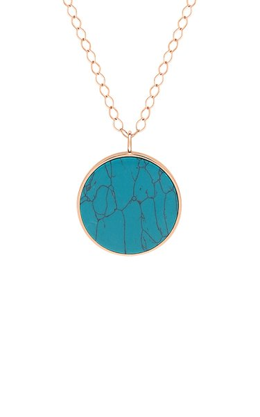 Jumbo Ever 18K Rose Gold Turquoise Disc Necklace