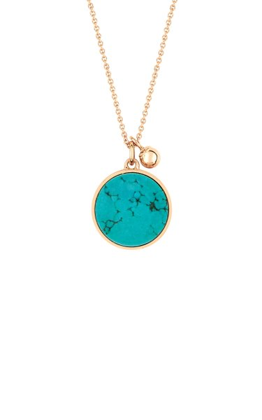 Ever 18K Rose Gold Turquoise Disc Necklace