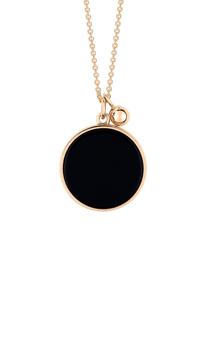 Ever 18K Rose Gold Onyx Disc Necklace