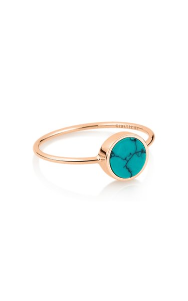 Mini Ever 18K Rose Gold Turquoise Disc Ring
