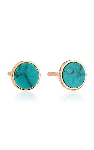 Ever 18K Rose Gold Turquoise Disc Earrings