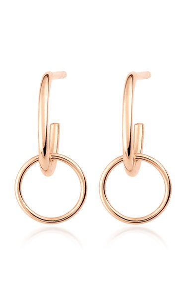 Tiny Circle 18K Rose Gold Earrings