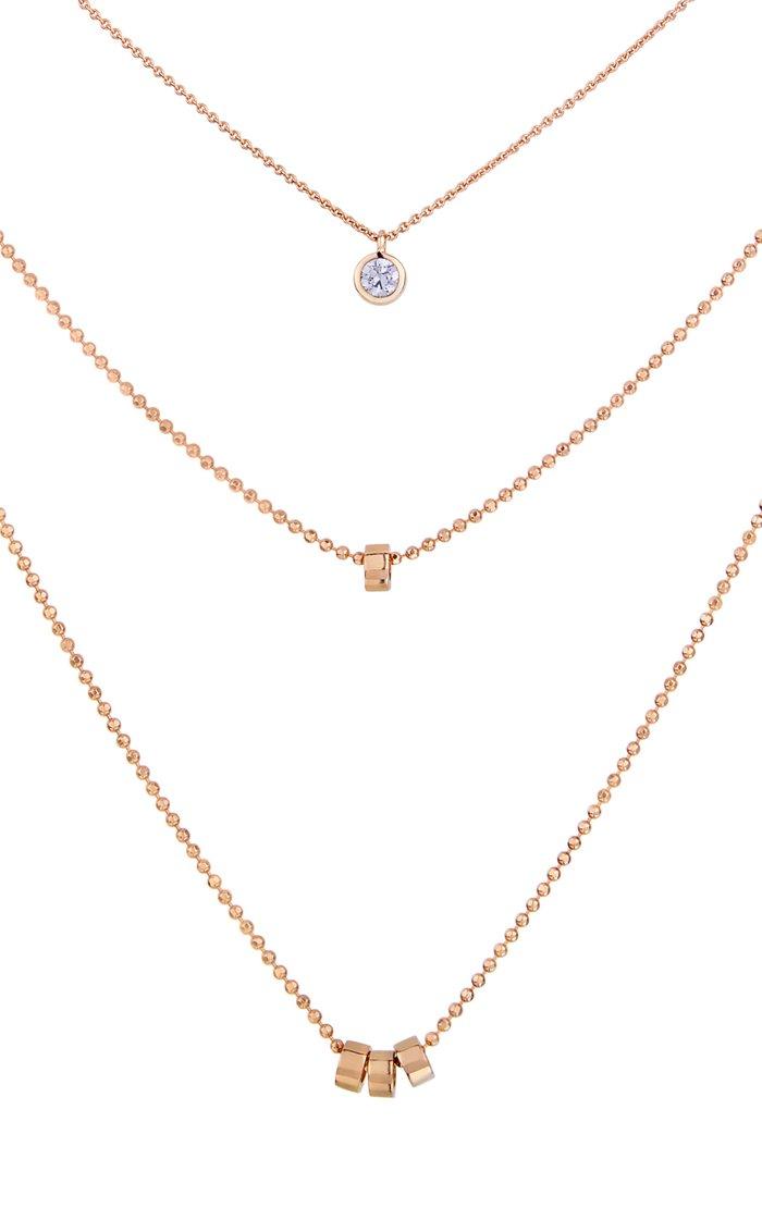 Multi Lonely 18K Rose Gold Diamond Necklace