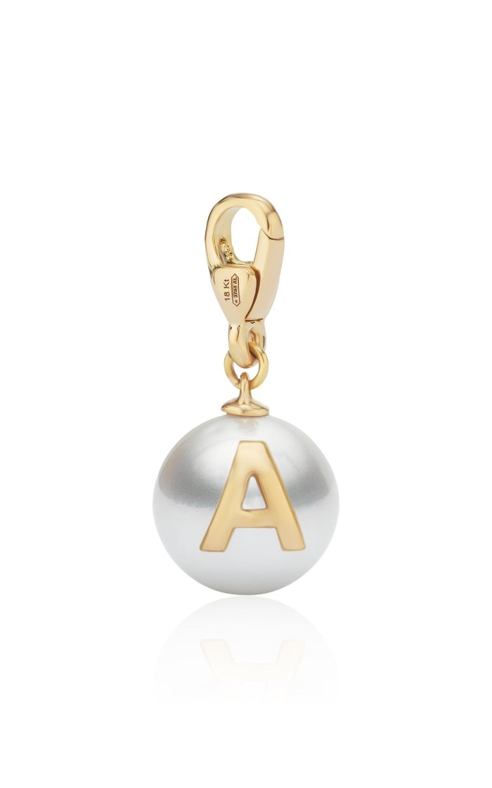 18K Yellow Gold Pearl ID Letter Charm