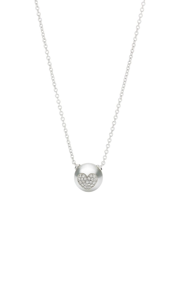 18K White Gold Pearl ID Necklace