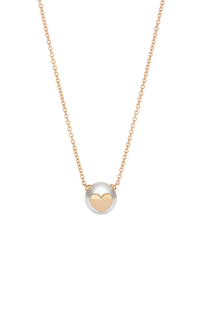 18K Rose Gold Pearl ID Heart Necklace
