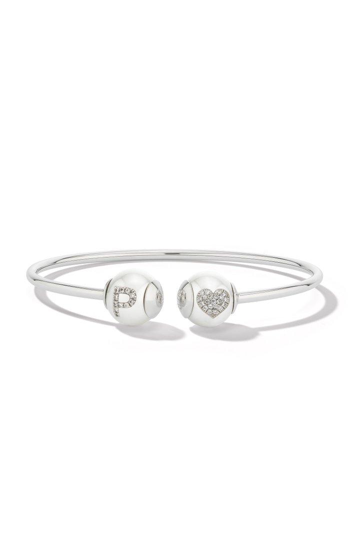 18K White Gold Pearl ID Bracelet
