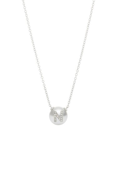 18K White Gold Pearl ID Letter Necklace