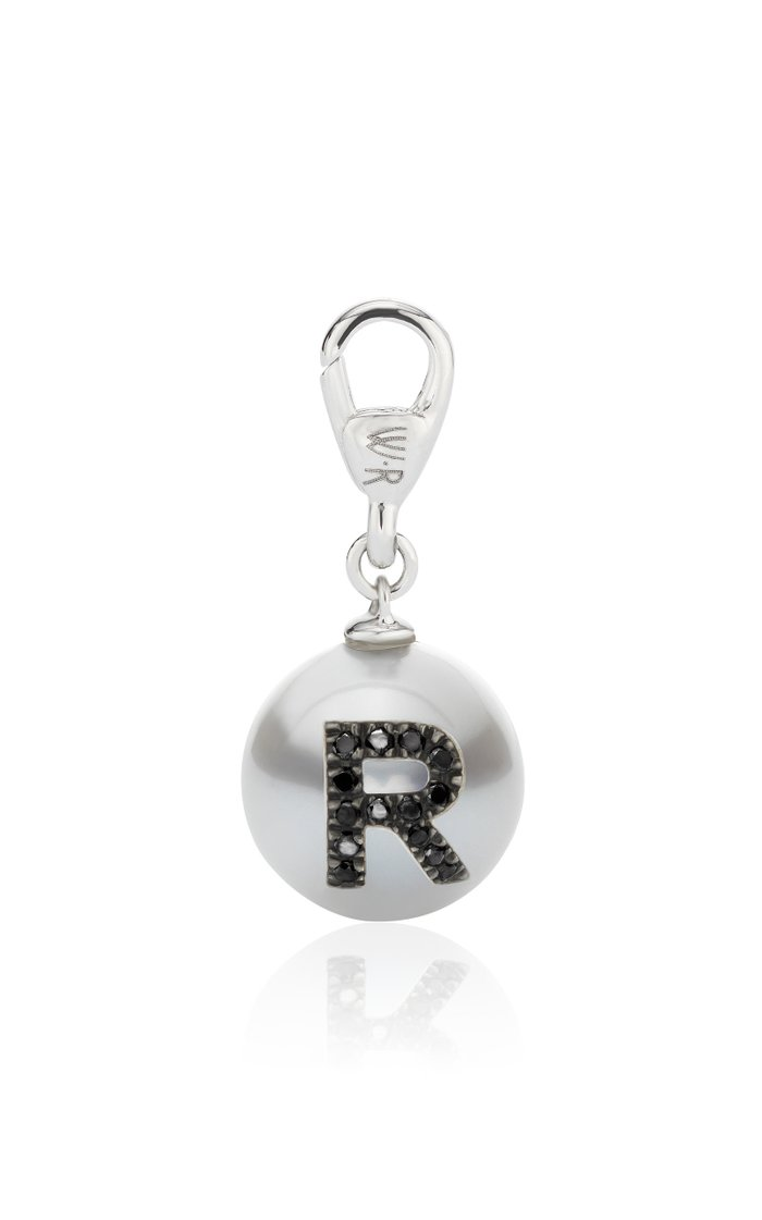 18K White Gold Pearl ID Letter Charm