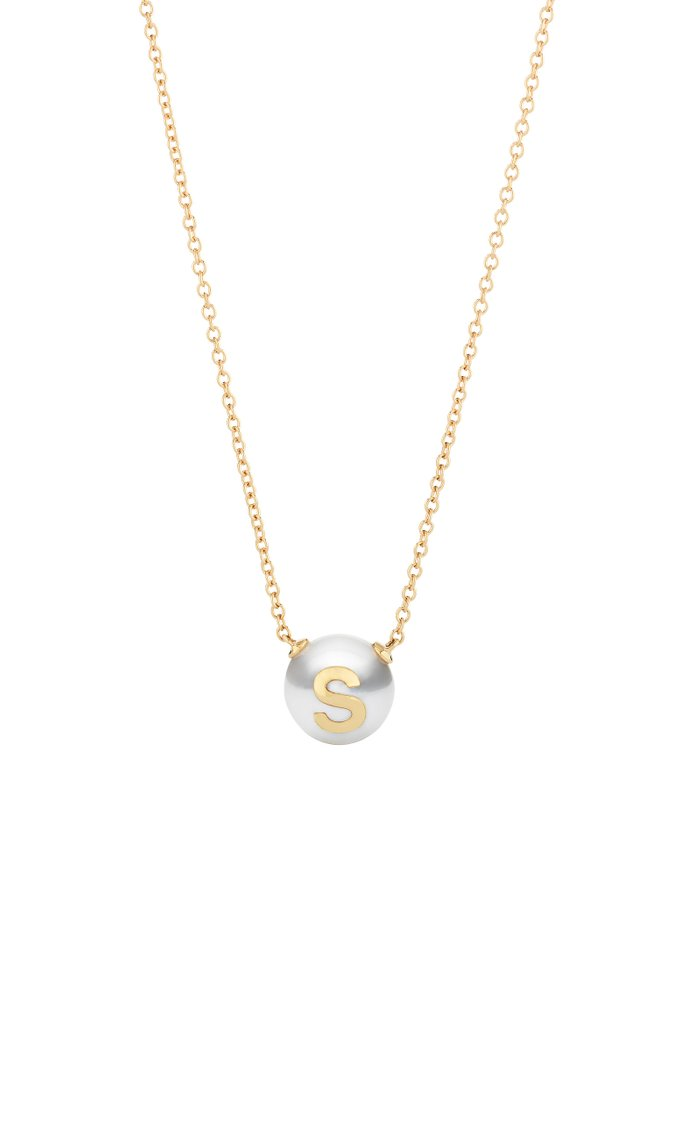 18K Rose Gold Pearl ID Letter Necklace