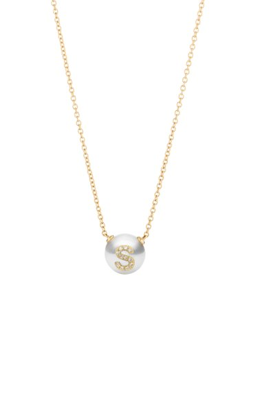 18K Yellow Gold Pearl ID Letter Necklace
