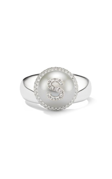 18K White Gold Pearl ID Letter Ring
