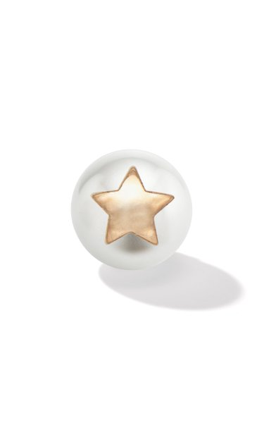 18K Yellow Gold Pearl ID Star Earring