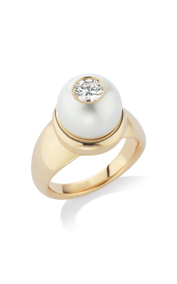 18K Rose Gold Pearl ID Diamond  Ring