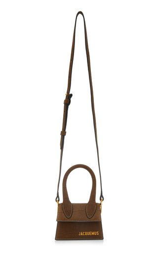 Le Chiquito Croc-Effect Suede Leather Bag