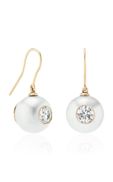 18K Rose Gold Pearl ID Diamond Drop Earrings