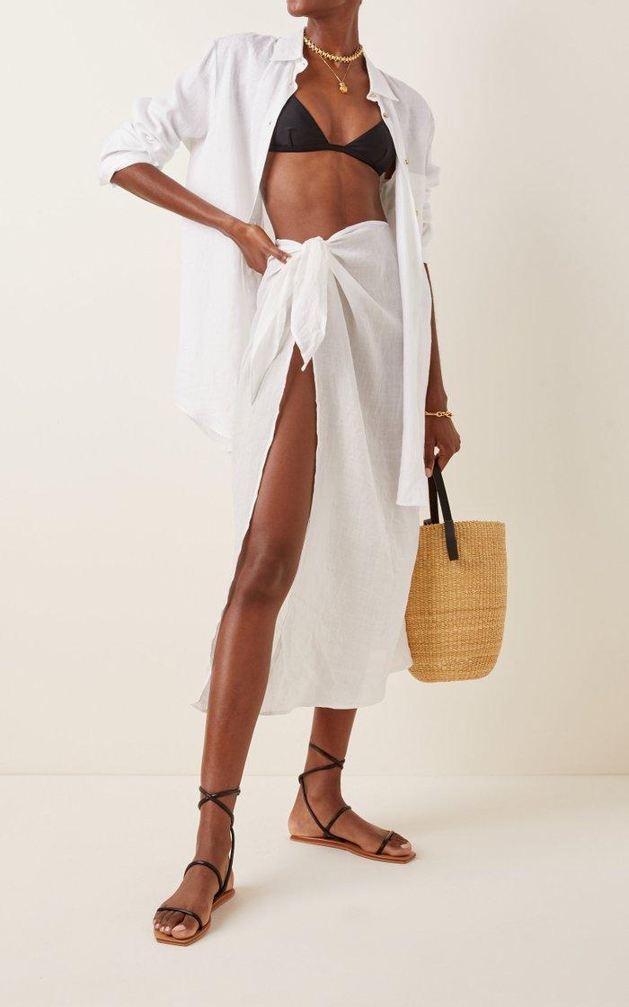 Ramie Maxi Wrap Skirt