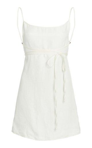 The K.M.Tie Linen Mini Dress