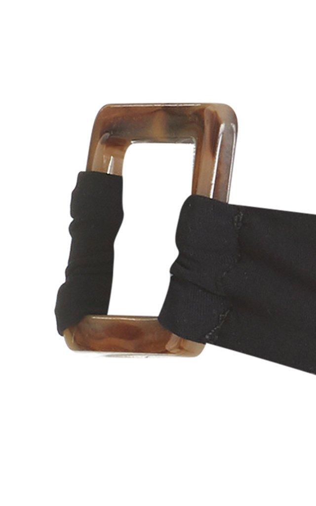 Tortoiseshell-Detailed Hipster Mid-Rise Bikini Bottom