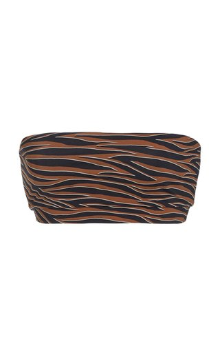 The Bandeau Tiger-Print Bikini Top