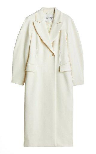 Dusa Puff-Sleeve Twill Coat