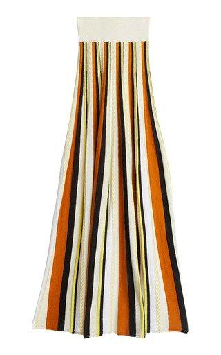 Marika Striped Cotton-Blend Knit Skirt