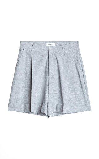 Marta Pleated Cotton-Linen Cuffed Shorts