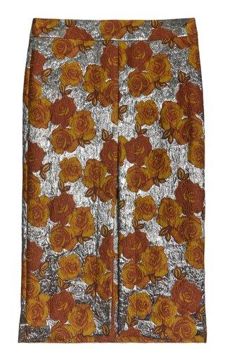 Ivana Metallic Floral Brocade Midi Skirt