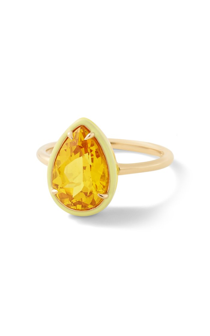 Yellow Sapphire Pear Cocktail Ring