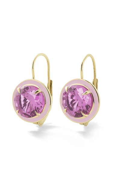 Pink Sapphire Round Cocktail Earrings