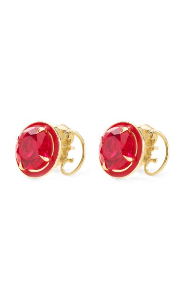 Ruby Round Cocktail Studs