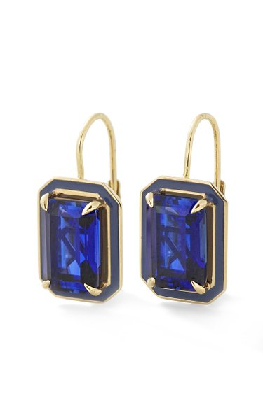 Blue Sapphire Rectangle Cocktail Earrings