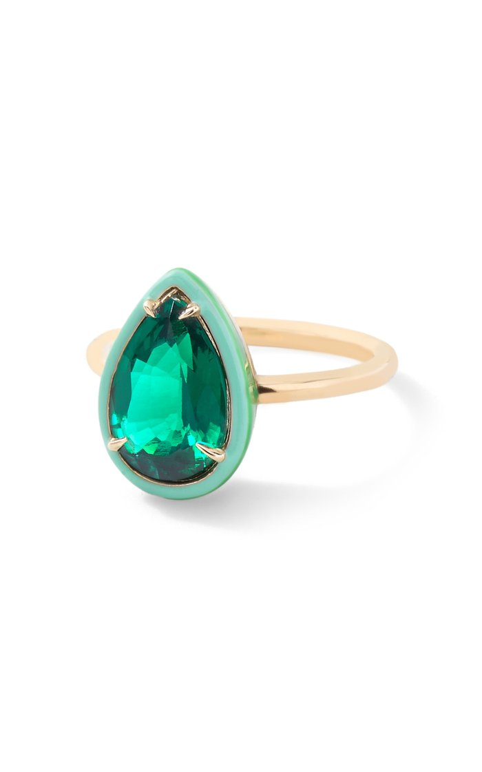 Emerald Pear Cocktail Ring