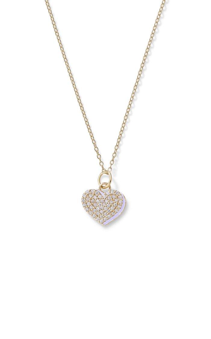 Diamond Heart with Enamel Shadow Necklace
