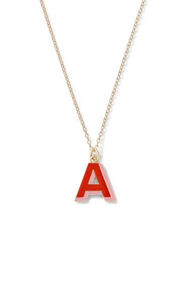 Double Enamel Letter Shadow Pendant