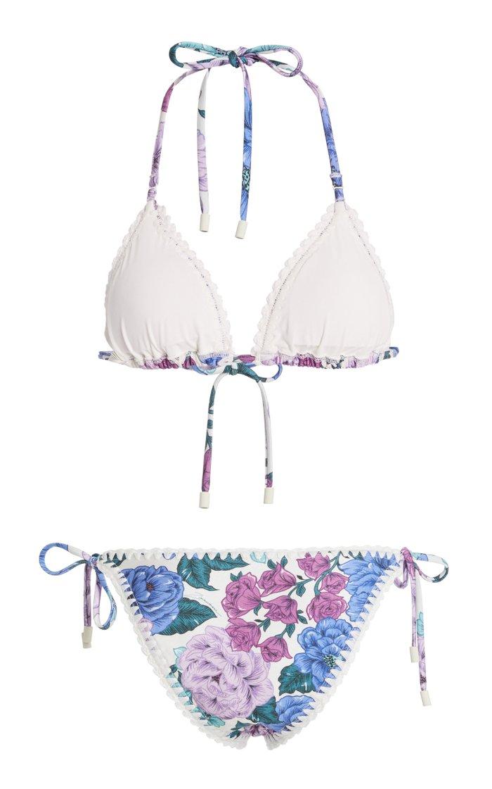 Poppy Floral Crochet-Trim Bikini
