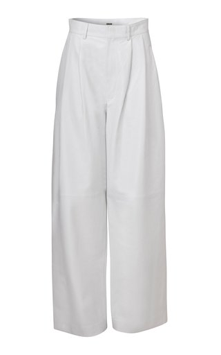 Daryl Leather Wide-Leg Trousers