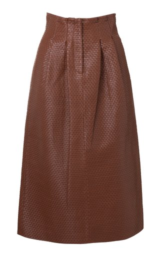 Tricia Woven Leather Pencil Skirt