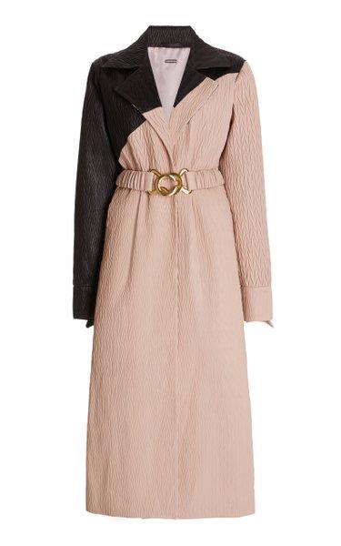 Ebba Two-Tone Leather Midi Dress
