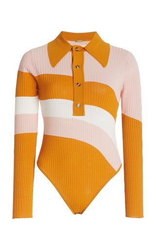 Hera Striped Ribbed Knit Bodysuit