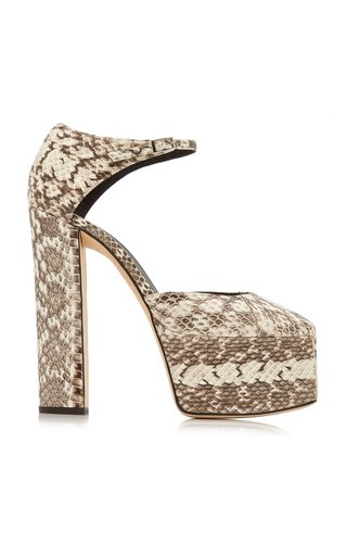 Snake-Print Leather Platform Sandals