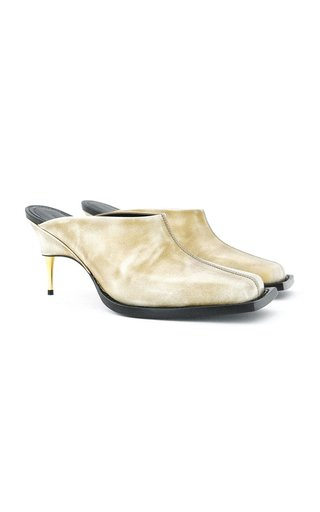 Brushed Leather Mules