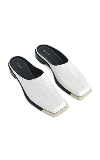 Embossed Leather Silver-Tone Mules