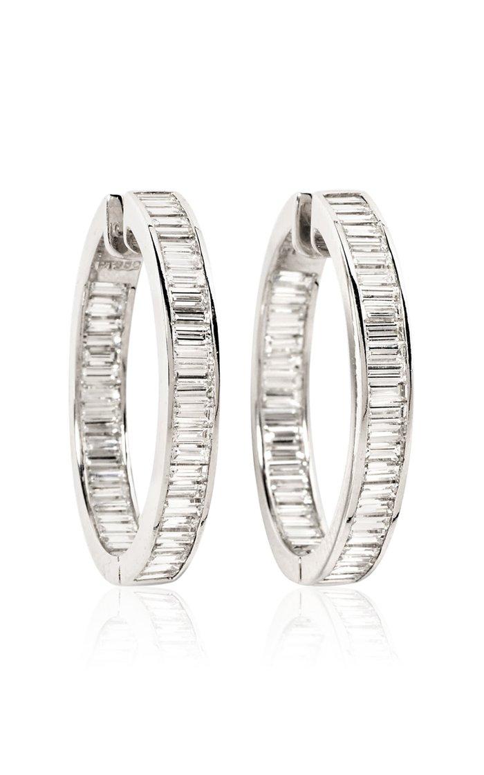 Fred Leighton Diamond and Platinum Hoop Earrings