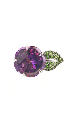 Chanel Fine Jewelry Amethyst and Tsavorite Large Flower Ring