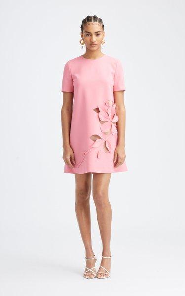 Floral Cutout Wool-Blend Mini Dress