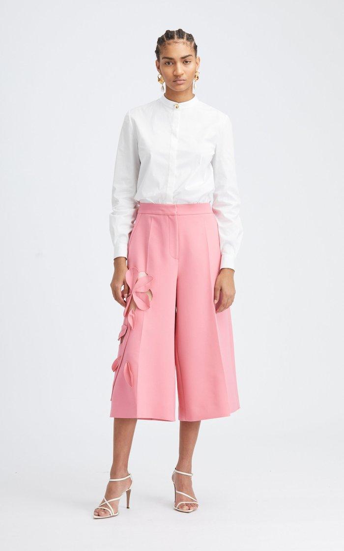Mid-Rise Floral Cutout Wool-Blend Culotte