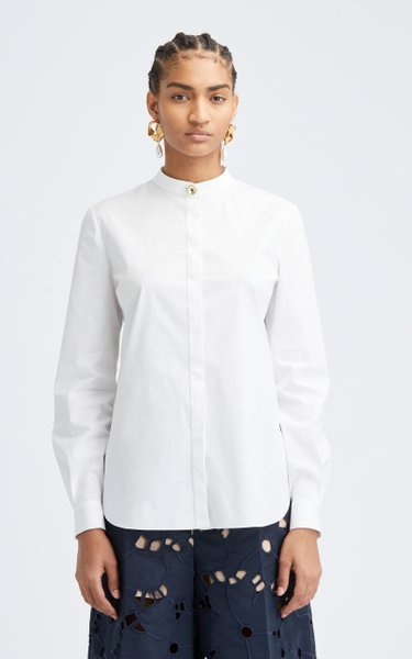 Long Sleeve Mandarin Collar Shirt